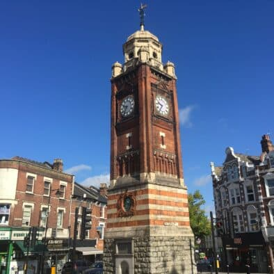 a clock tower in north london