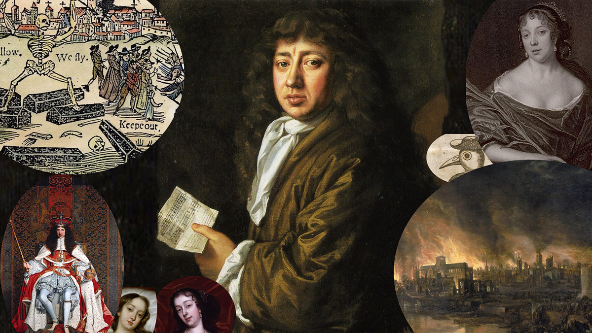 Montage of Samuel Pepys and his contemporaries